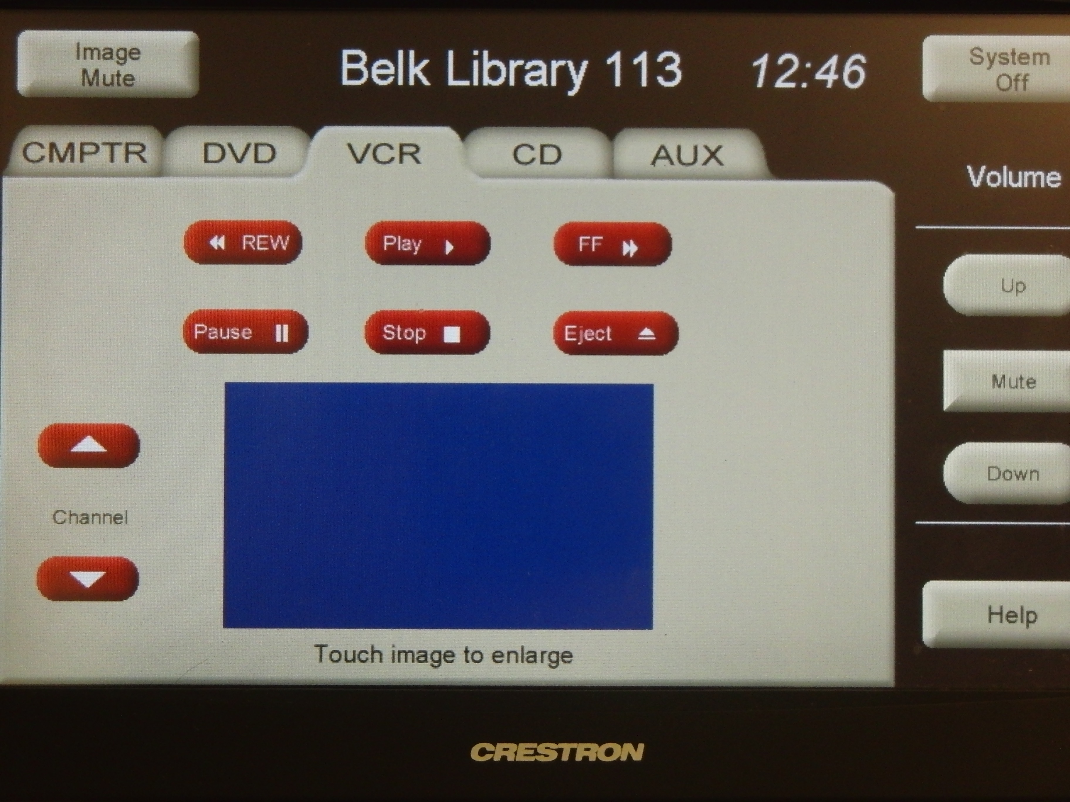 A photo of the screen under the VCR tab on the touch panel.