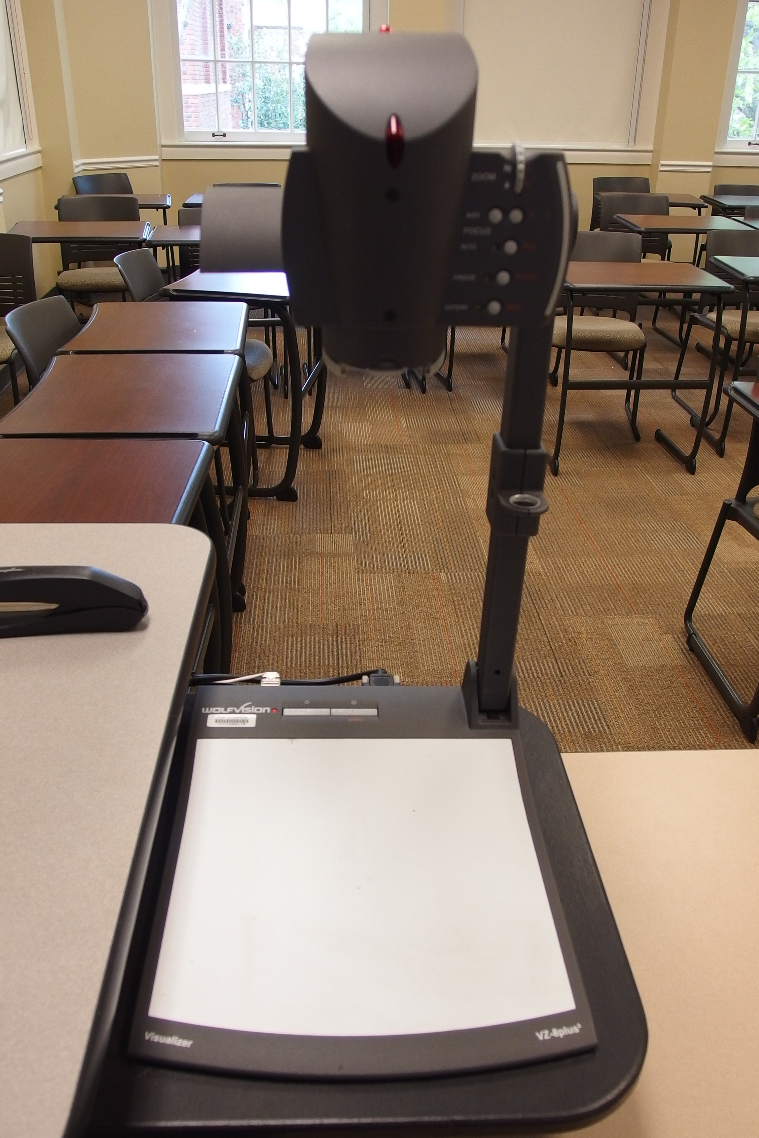 Photo of wolfvision document camera located on the right side of the instructor's station
