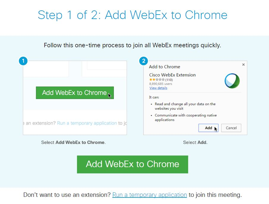 A photo from webex website showing installation instructions