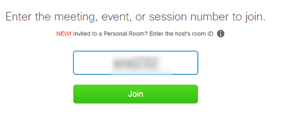 You must enter a meeting number in order to join a WebEx.