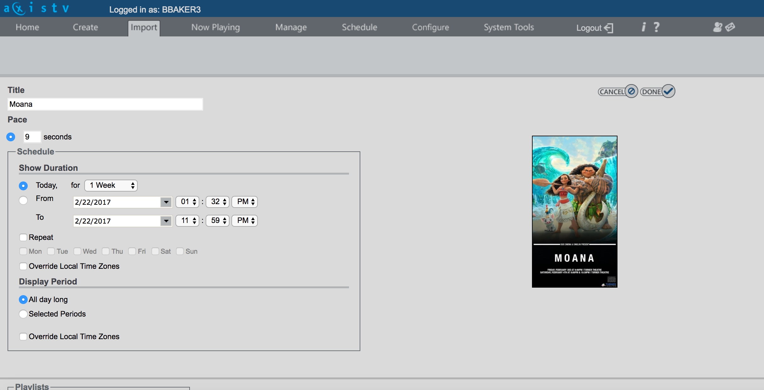 A picture of the Visix import window.