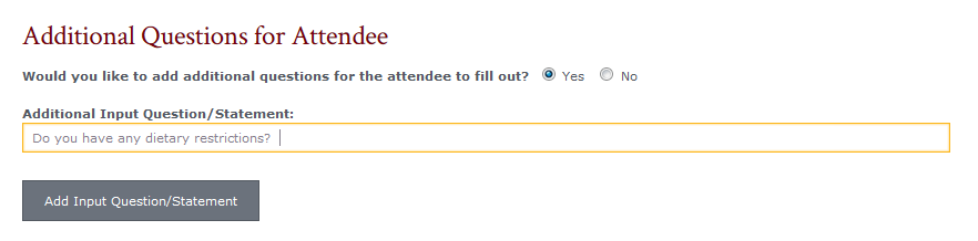 Image fo Additional Questions for Attendee fields