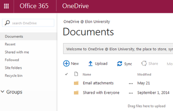 An image of the homepage for OneDrive online.