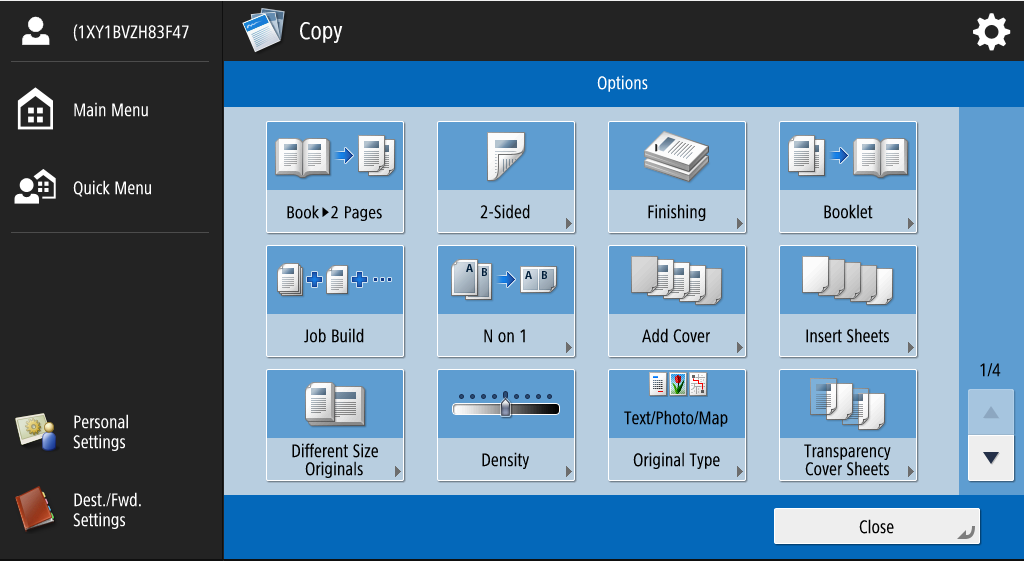 This is an image of the variety of options available when copying.