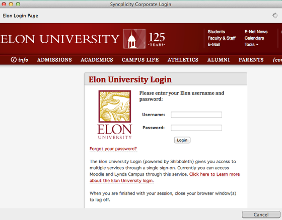 This is an image of the Elon login screen you'll navigate to.