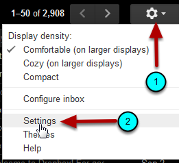 Click the settings icon (labeled with arrow as 1) and then settings (labeled with arrow as 2).