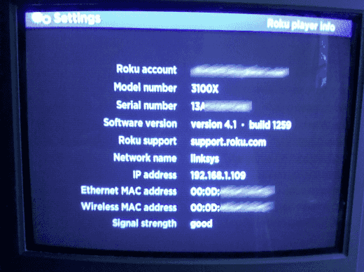 An image of a Roku device and it's settings page.
