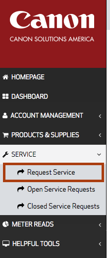This image shows to click Service and then Request Service, which has been circled.