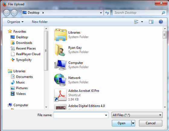 A file upload box showing how you can upload a file.