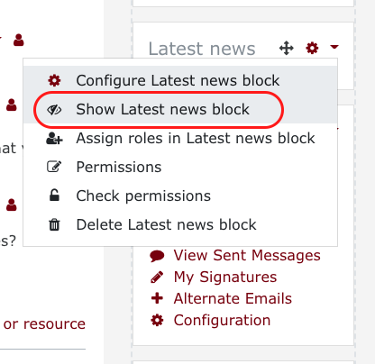 block shown with show option circled.
