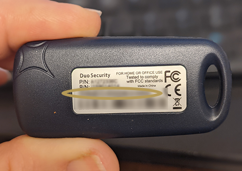 Picture of the back of a key fob