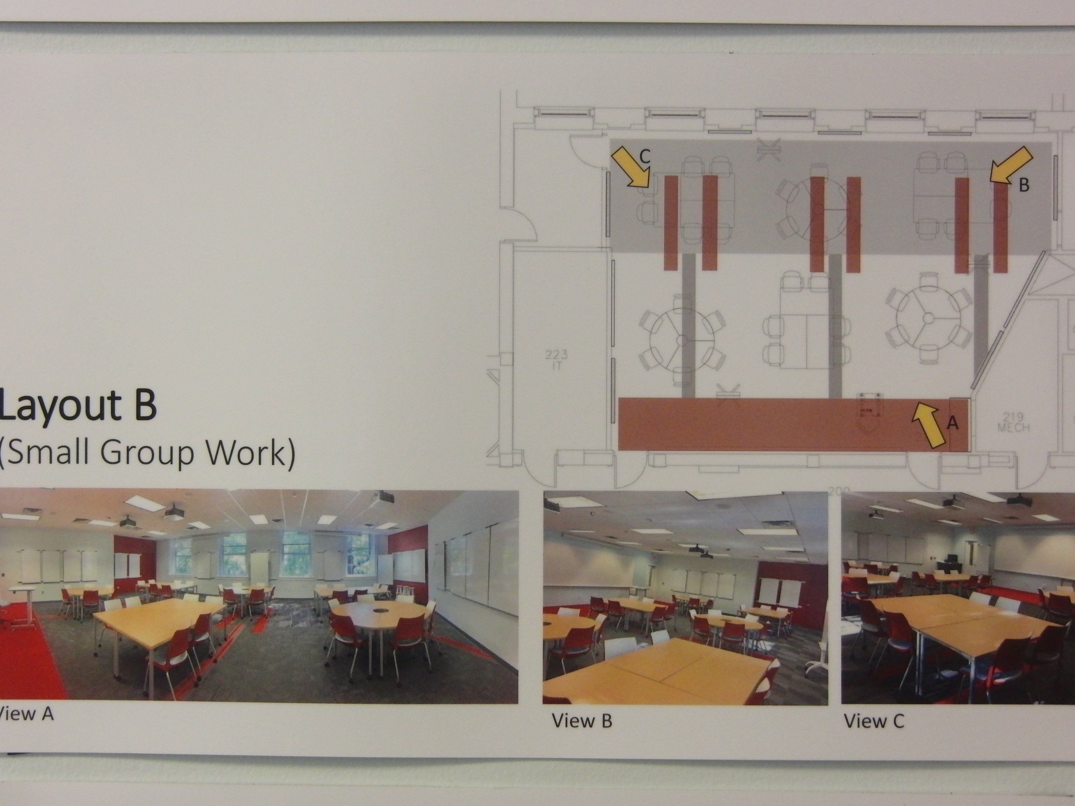 Photo of room configuration for small group work described as layout b