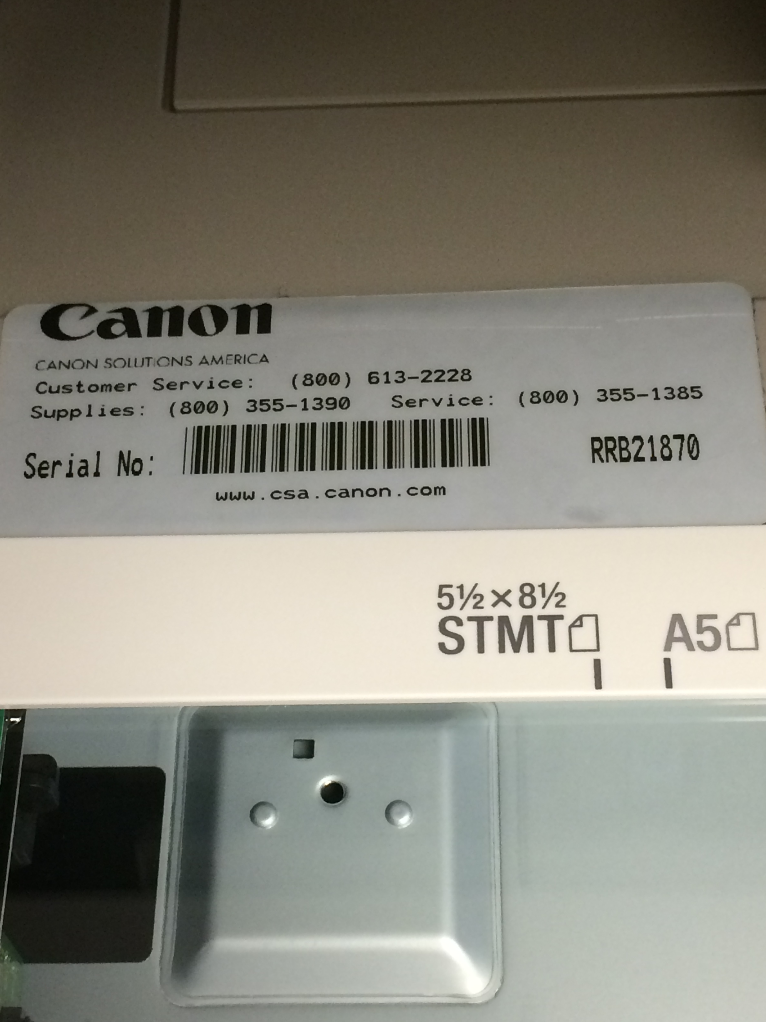 An example of a Canon serial number.