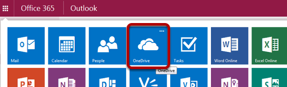 An image of available apps, with OneDrive circled.