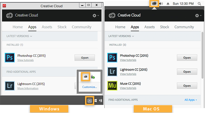 This image shows Creative Cloud in Windows (left) and Mac (right). In both images, the Creative Cloud icon is circled.