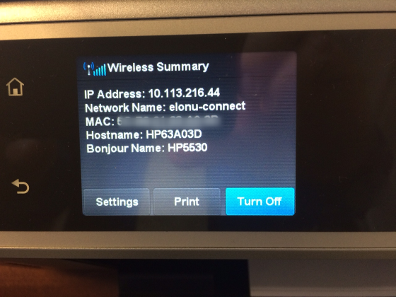 An example of a wireless printer IP Address and MAC address.