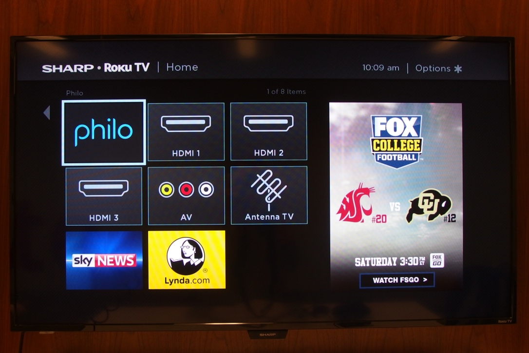 A photo of the LCD with the Roku menu and Philo selected.