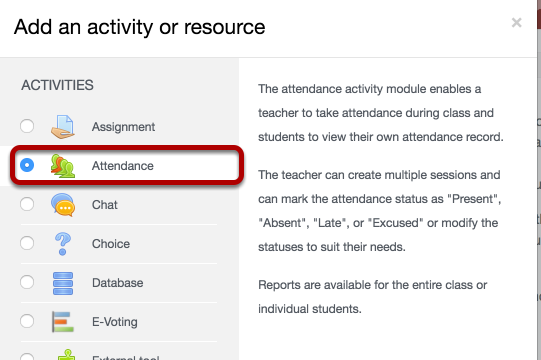 The add an activity or resource screen, with attendance circled.