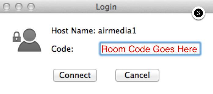 Photo of AirMedia dialogue box indicating the location for entering the room code