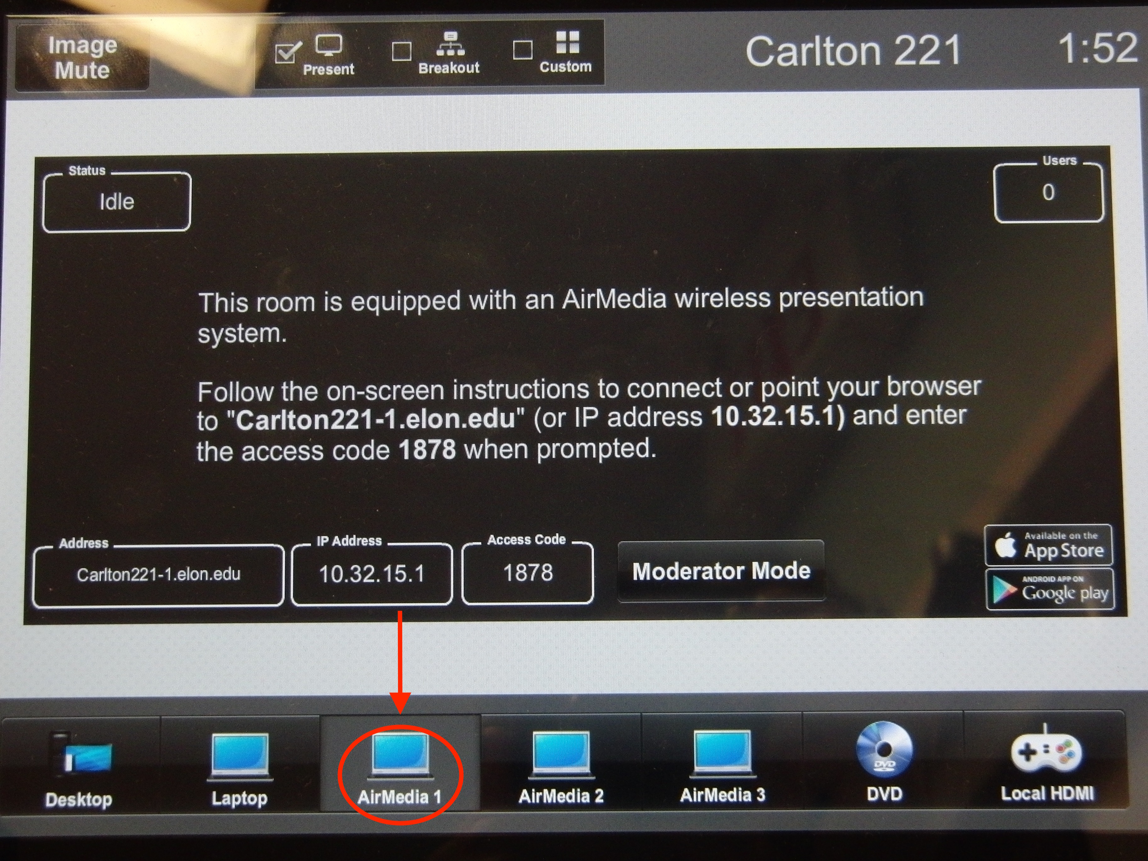 Photo of crestron control touch panel highlighting AirMedia 1