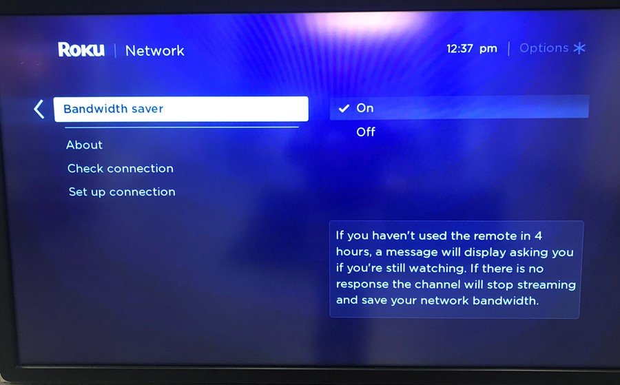 photo of roku menu showing option to turn on or off the bandwidth saver