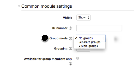An image of common module settings with 1 being the group mode.
