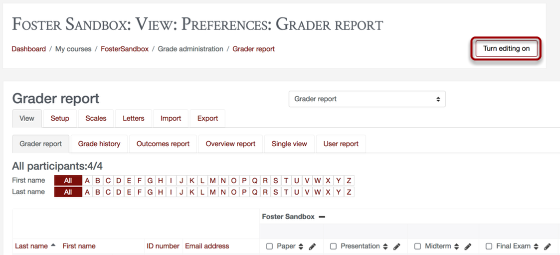 An image showing a sample grader report, with the turn editing on button circled.