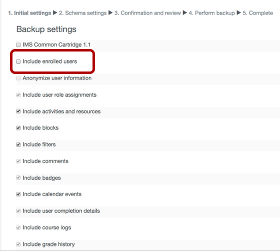 Image of the Include enrolled users selection under Backup settings, which is circled.