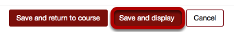 An image of save buttons, with save and display circled.