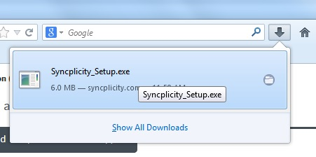 This image shows the syncplicity install file.