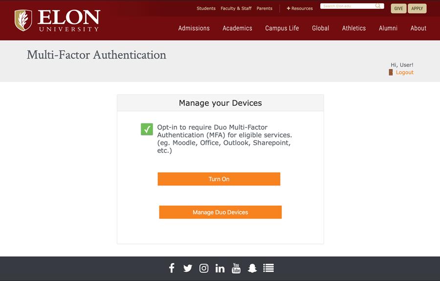 Screenshot of Elon's DUO Self-Service Enrollment Website