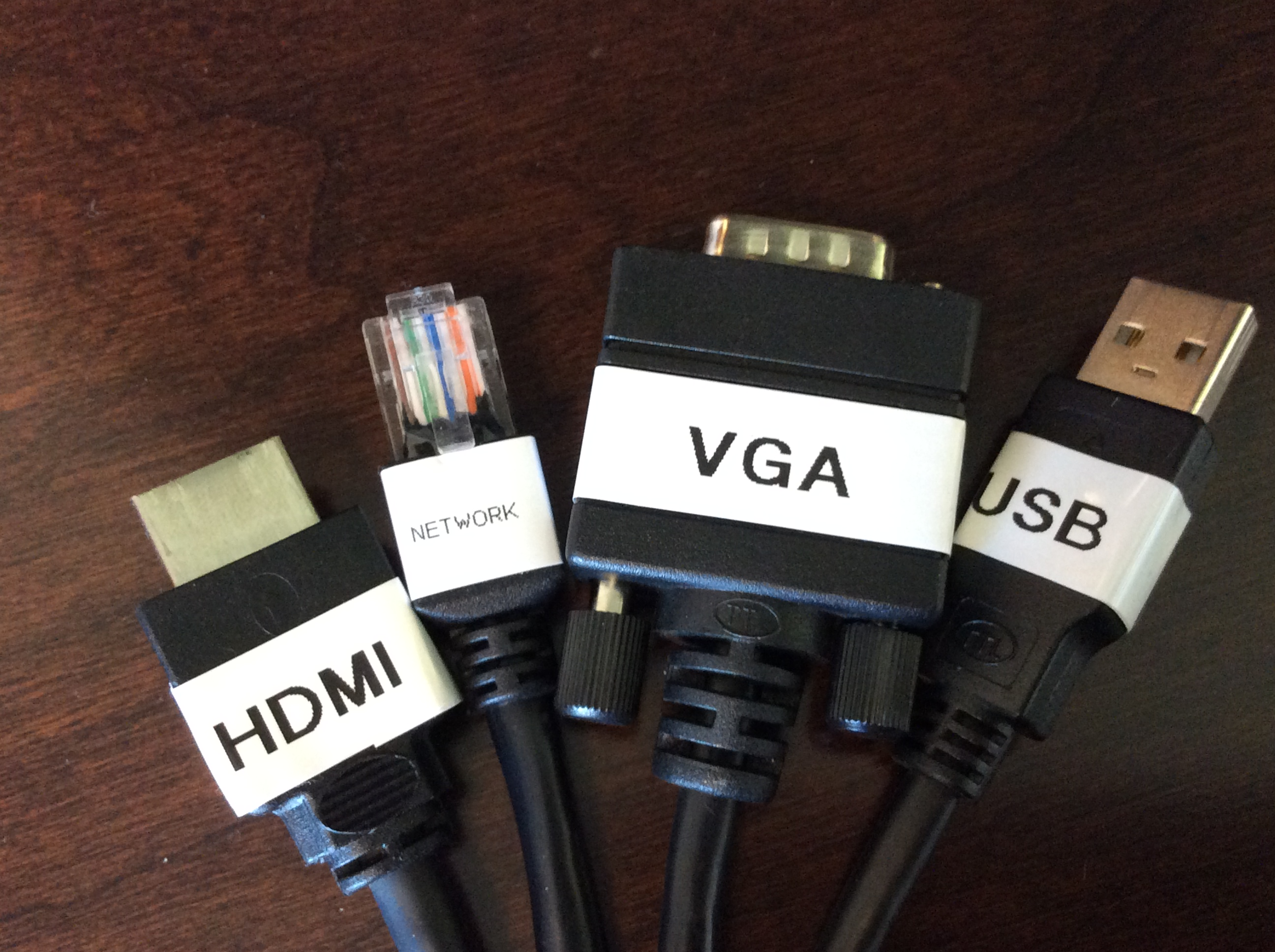 Photo of available cable options including HDMI, network, VGA, and USB
