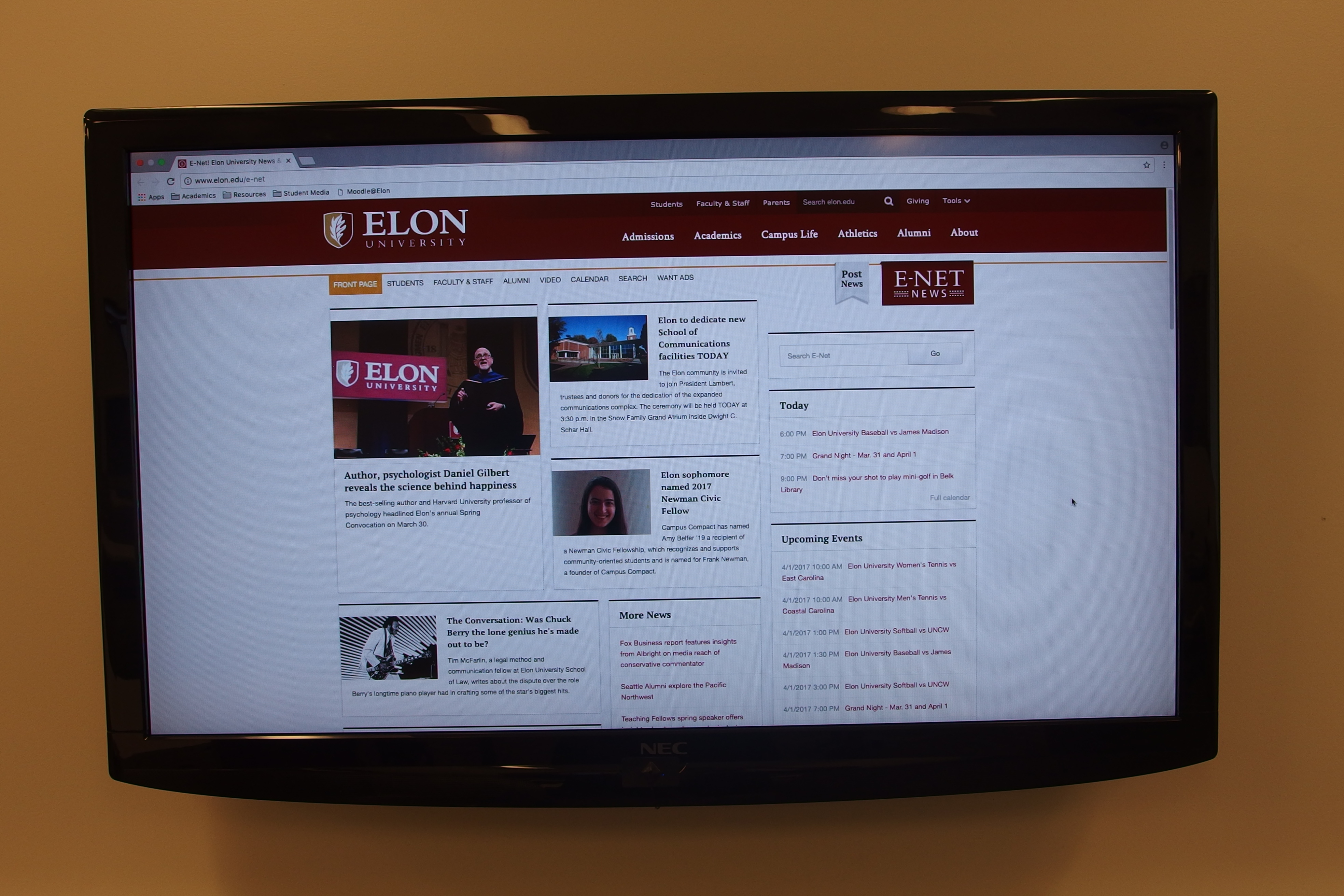 A photo of the in room LCD