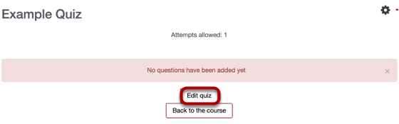 An image of the example quiz, with edit quiz link circled.