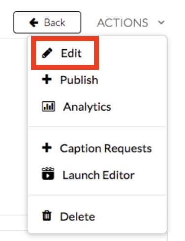 """Click on """"Actions"""" and select the option to """"Edit"""""""