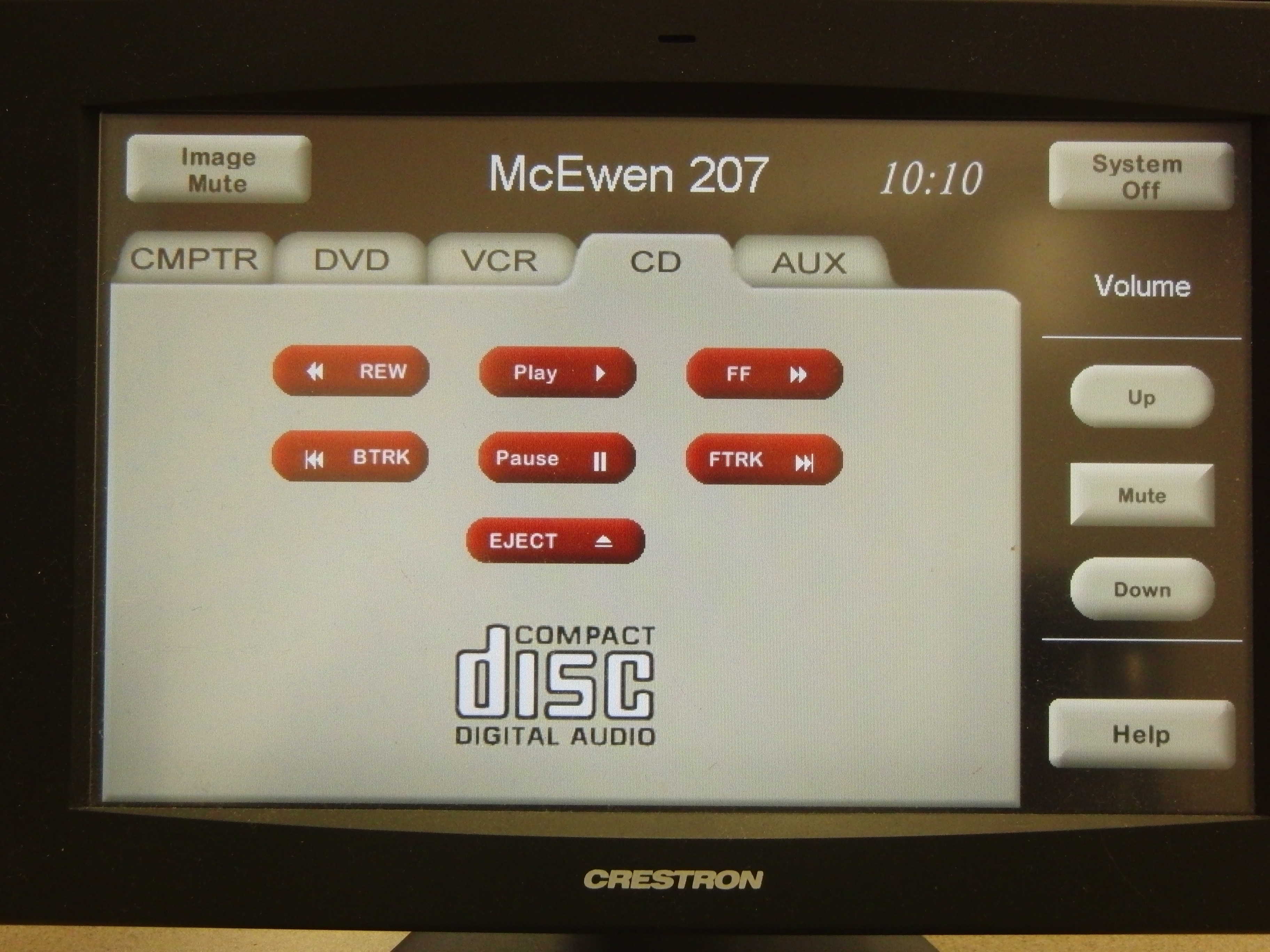 Photo of crestron control touch panel with the CD tab active