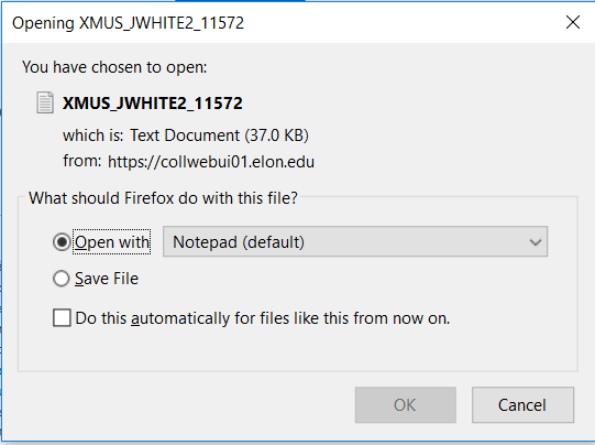 This is an example of the prompt to either open the file or save the file.