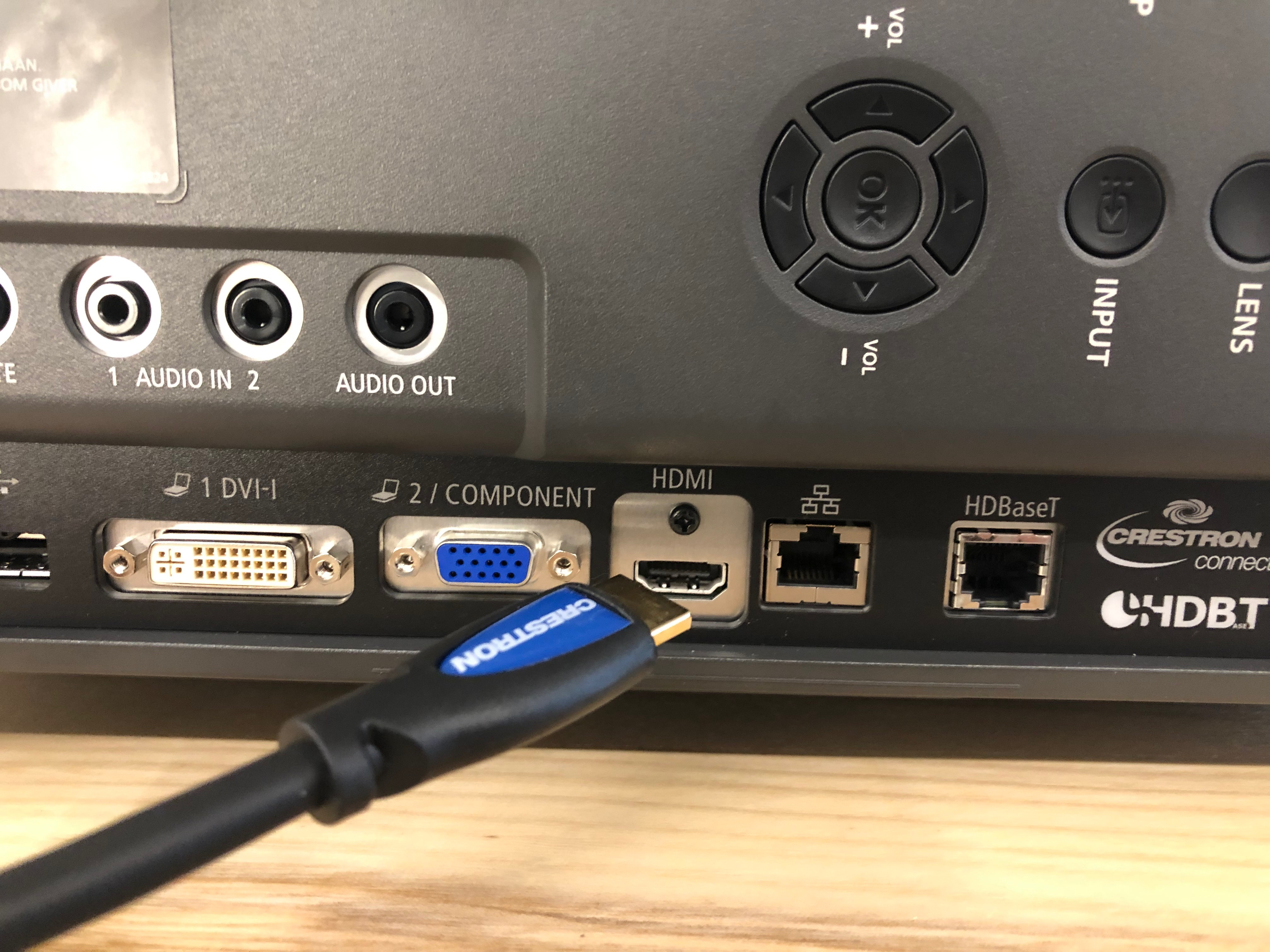 A photo of the HDMI cable near the projector.