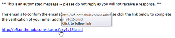 An image of the confirmation email with a verification link.