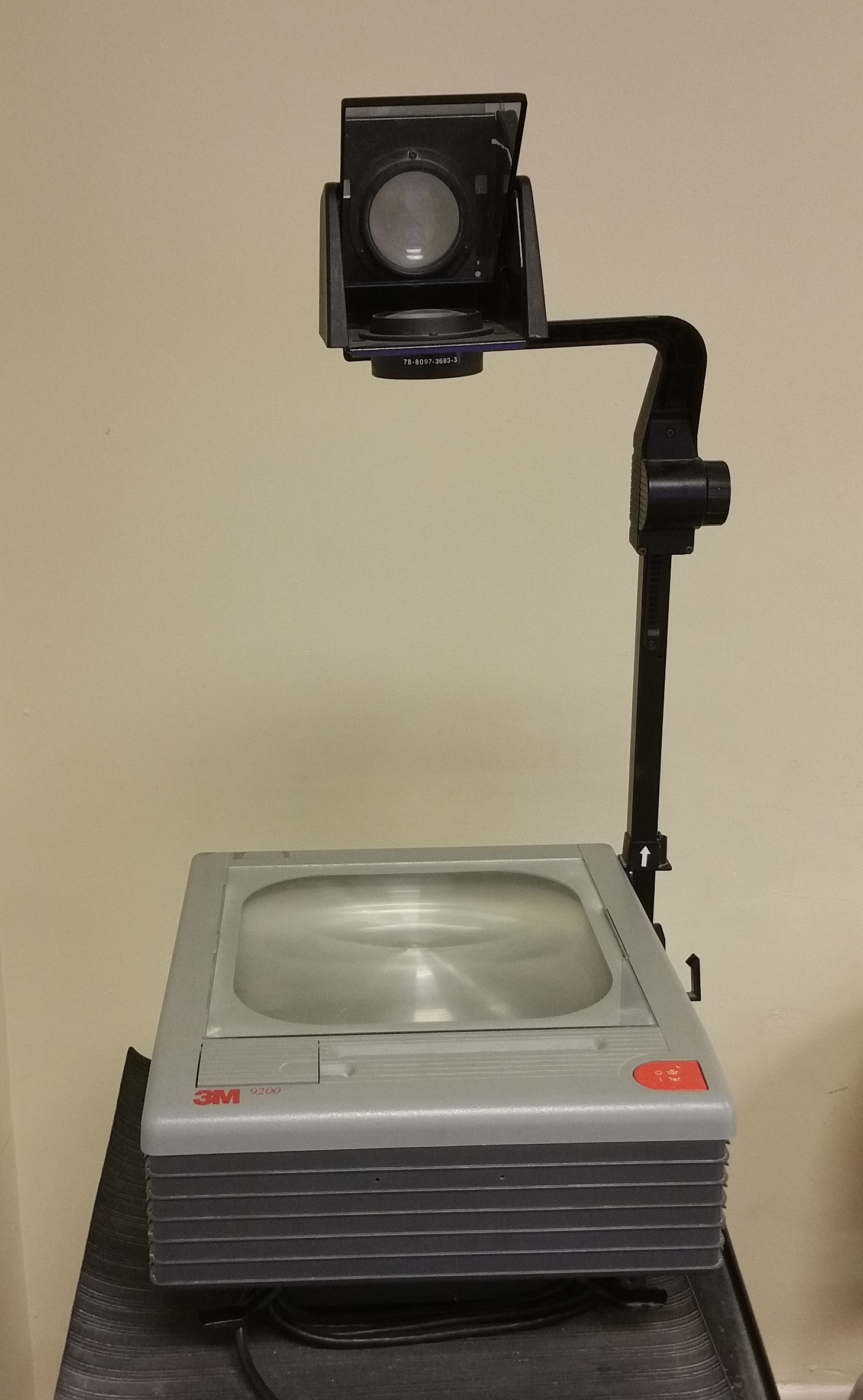 Photo of over head projector on a technology cart