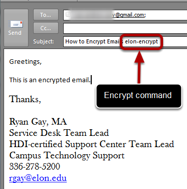 "An image of the encrypt command, circled, with an arrow pointing to it, labeled ""Encrypt command."""