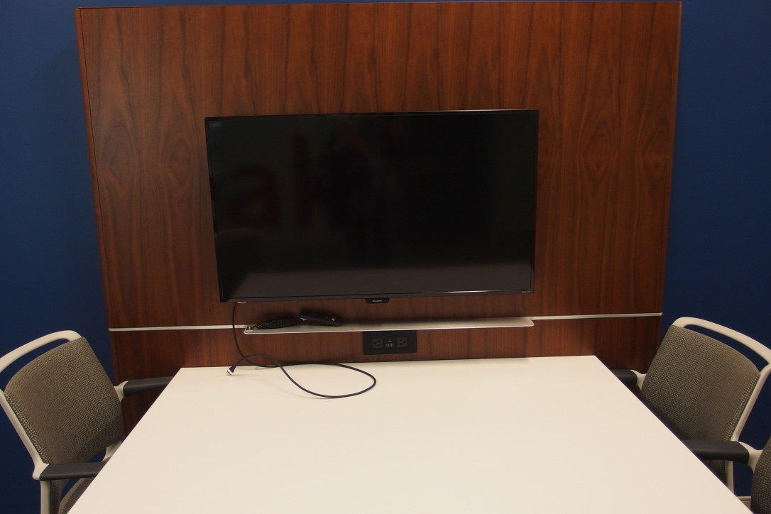 A picture of the TV and table setup.