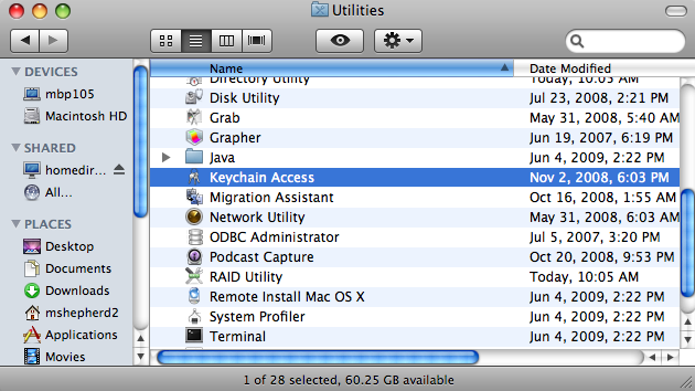 Open Keychain Access located in Macintosh HD > Applications > Utilities