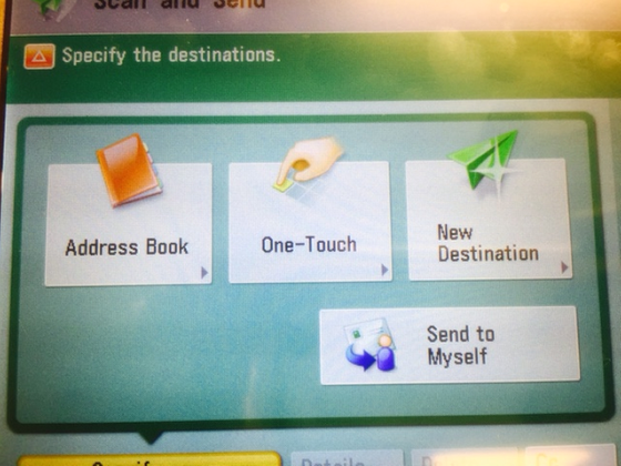This is an image of the options for scan and send.