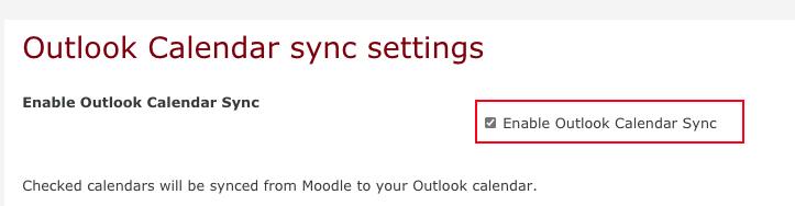 Outlook calendar sync menu