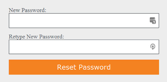 Enter a new password and click reset password