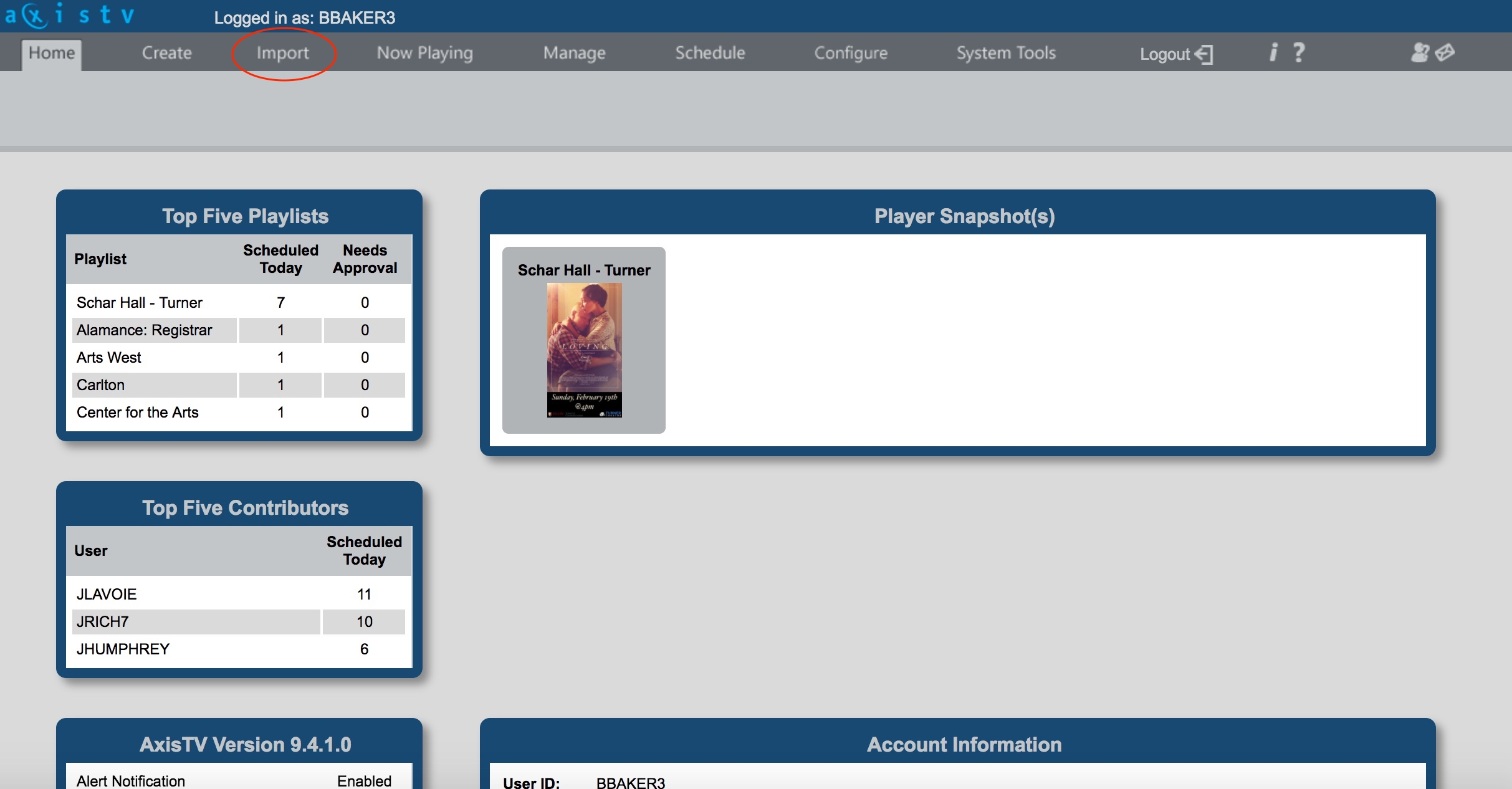 A picture of the visix home page with the import tab circled.