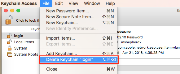 "From the top toolbar select File, then Delete Keychain ""login"""
