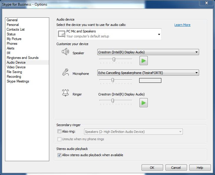 A photo of skype for business audio options