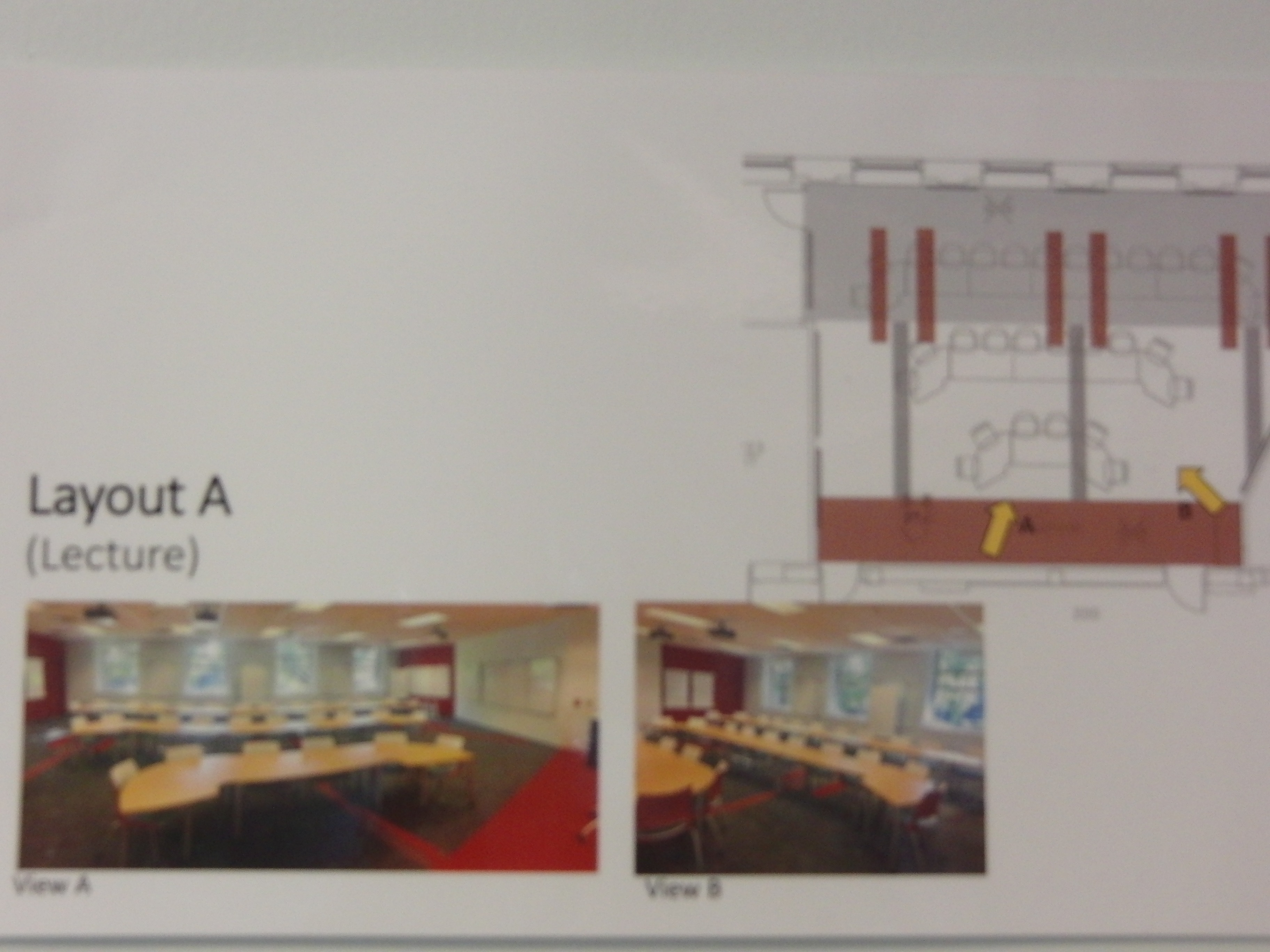 Photo of room configuration for lecture described as layout a